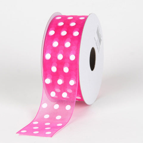 Organza Polka Dot Ribbon Fuchsia with White Dots ( W: 3/8 inch | L: 25 Yards )