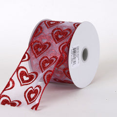 Valentine Ribbon White with Red ( 2.5 Inch x 10 Yards )