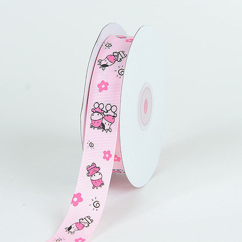 Grosgrain Ribbon MooMoo Cow Print Light Pink ( W: 5/8 inch | L: 25 Yards ) -