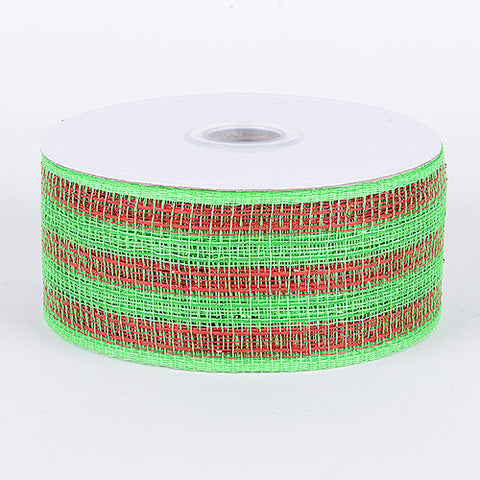 Metallic Deco Mesh Ribbons Green Red ( 4 inch x 25 yards ) -