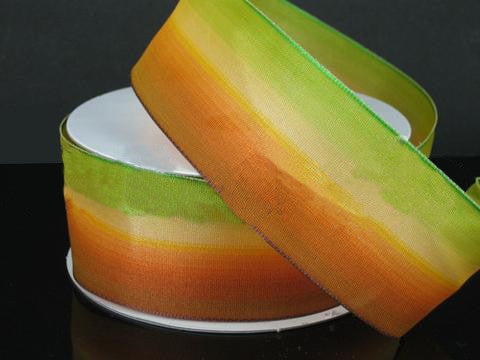Ombre Ribbon Wired Edge Green Yellow Orange ( W: 1-1/2 inch | L: 25 Yards ) - MY DIY Fabric