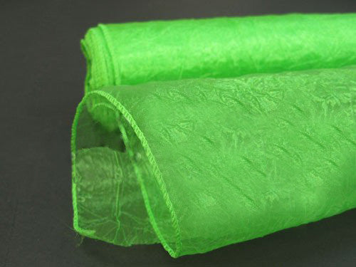 Premium Crinkle Organza Overlays Apple Green ( W: 24 inch | L: 10 Yards )