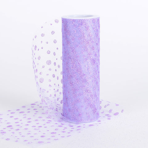 6 Inch x 10 Yards Sparkle Dot Tulle Lavender ( W: 6 inch | L: 10 yards ) -