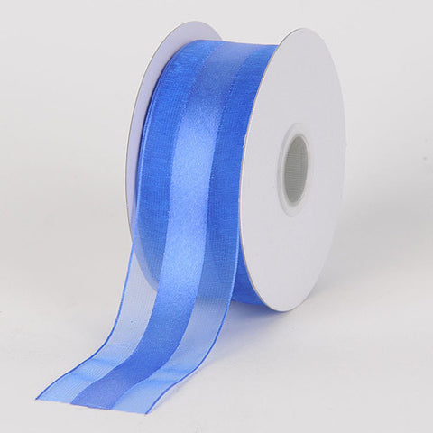 Organza Ribbon Satin Center Royal Blue ( W: 5/8 inch | L: 25 Yards )