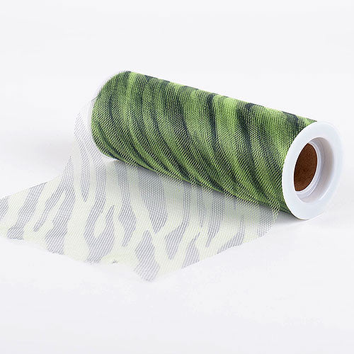 Zebra Apple Green Animal Printed Tulle Roll ( W: 6 inch | L: 10 Yards )