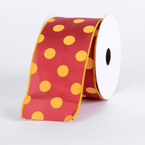Satin Polka Dot Ribbon Wired Red with Light Gold Dots ( W: 2-1/2 inch | L: 10 Yards ) -