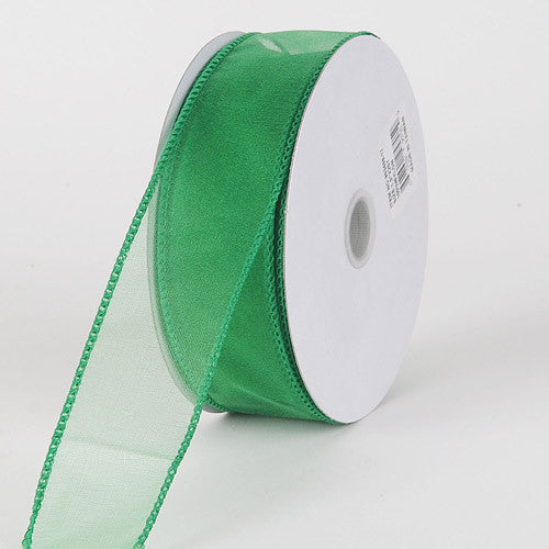Organza Ribbon Thick Wire Edge 25 Yards Emerald ( W: 1-1/2 inch | L: 25 Yards )