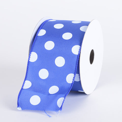 Satin Polka Dot Ribbon Wired Royal Blue with White Dots ( W: 2-1/2 inch | L: 10 Yards ) -