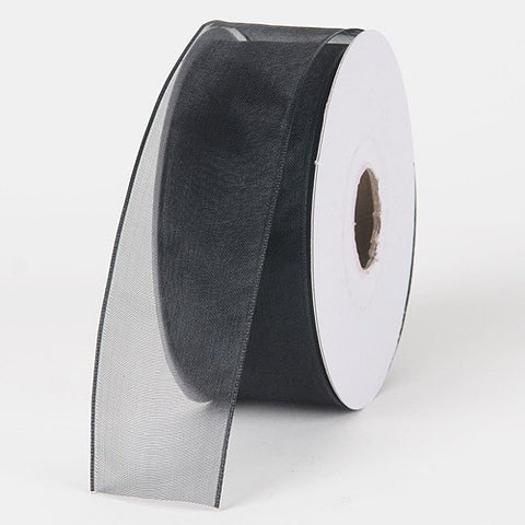 Organza Ribbon Thin Wire Edge 25 Yards Black ( W: 5/8 inch | L: 25 Yards )