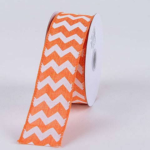 Chevron Canvas Wired Edge Orange ( W: 1-1/2 inch | L: 10 Yards ) -