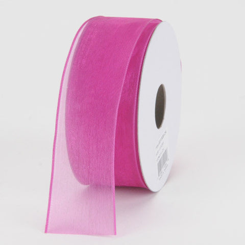 Organza Ribbon Thin Wire Edge 25 Yards Azalea ( W: 5/8 inch | L: 25 Yards )