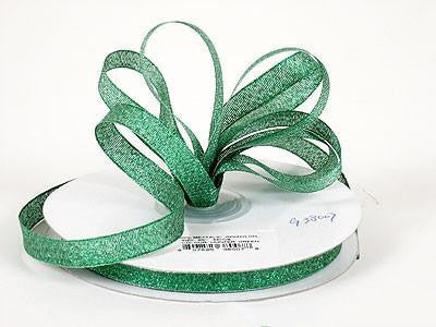 Metallic Ribbon Hunter Green ( W: 1/4 inch | L: 25 Yards ) - MY DIY Fabric
