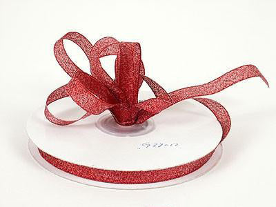 Metallic Ribbon Red ( W: 1/4 inch | L: 25 Yards ) - MY DIY Fabric