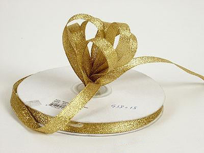 Metallic Ribbon Gold ( W: 1/4 inch | L: 25 Yards ) - MY DIY Fabric