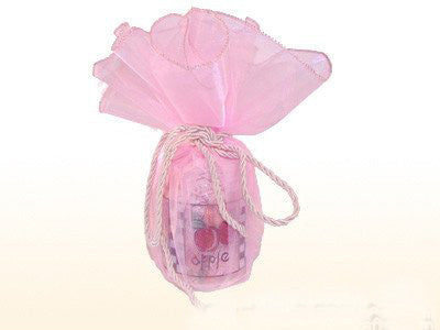 Giant Organza Circle Wrapper Pink With Pink Edge ( 18 inch | 12 Pieces )