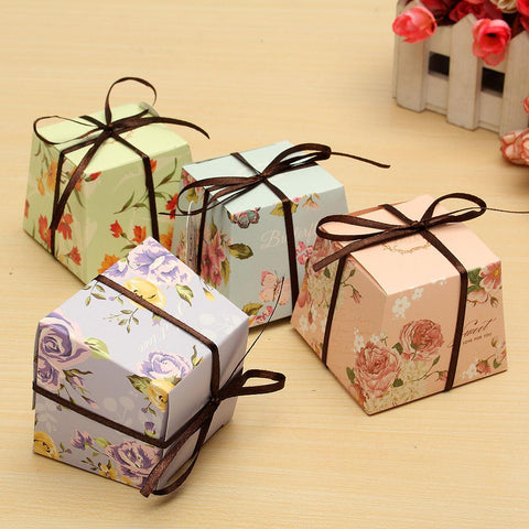 10 Pcs Floral Paper Candy Boxes For Guest With Ribbon