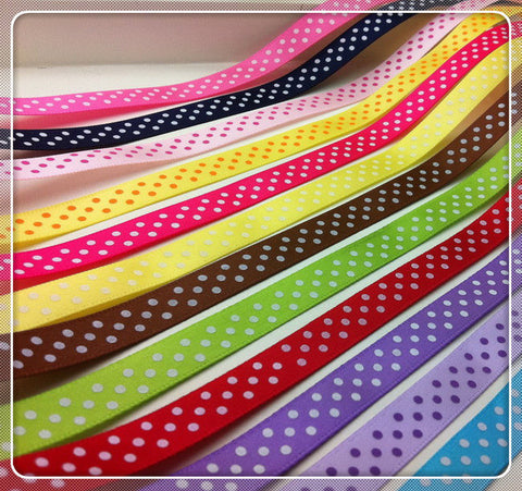 3/8 Inch x 20 Yards Satin Polka Dot Ribbon - MY DIY Fabric
