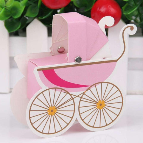 Baby Shower Stroller Shape Paper Candy Box - 10 Pcs - MY DIY Fabric