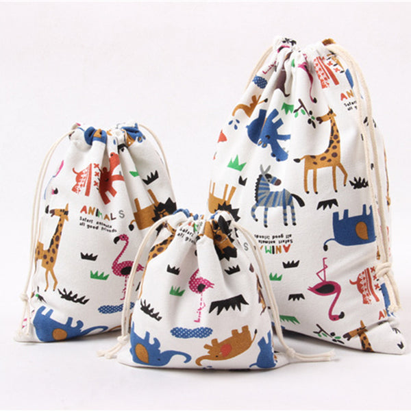 Pure Cotton Canvas Cartoon Animal Printed Gift Bags/Pouches