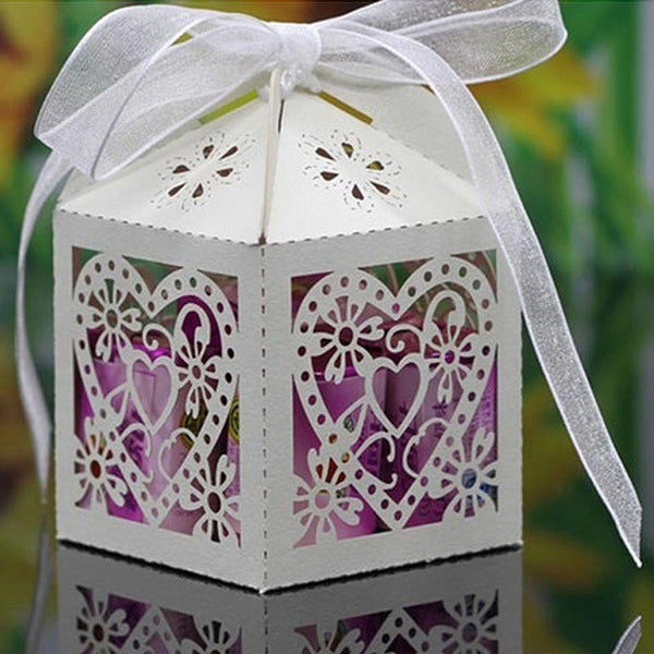 50 Pcs Heart Laser Cut Candy Gift Boxes, Wedding Party Favor With Ribbon