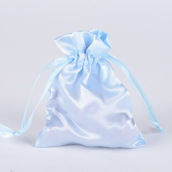 Satin Bags Light Blue ( 3x4 Inch - 10 Bags )
