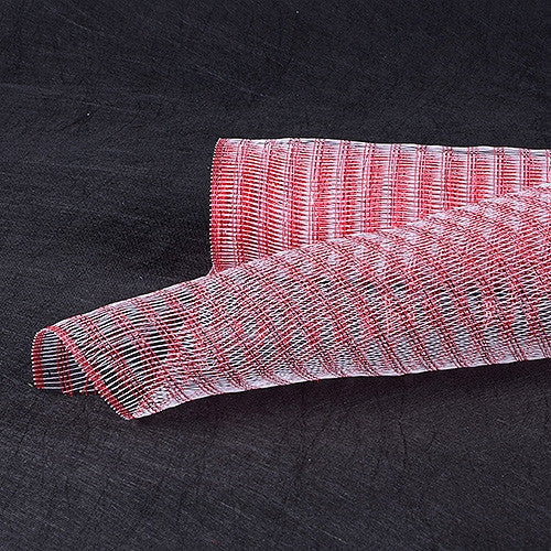 Metallic Line Mesh Wrap White with Red ( 21 Inch x 10 Yards )