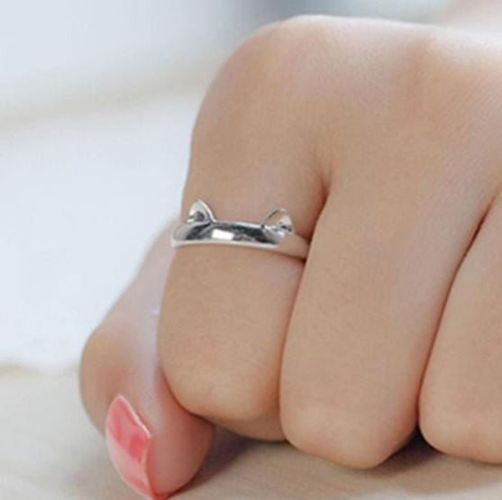 Cute Adjustable 925 Sterling Silver Cat Ring