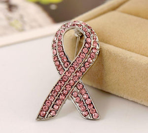 Brooch - Pink Crystal Breast Cancer Awareness Brooch