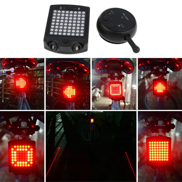 Cycling Lights - 64 LED USB Rechargeable Tail Light With Wireless Remote Turn Signals