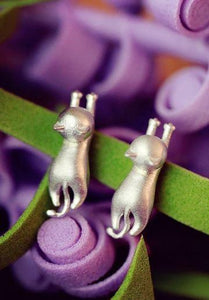 EarRings - Hanging Cat Charm Brushed Silver Earrings