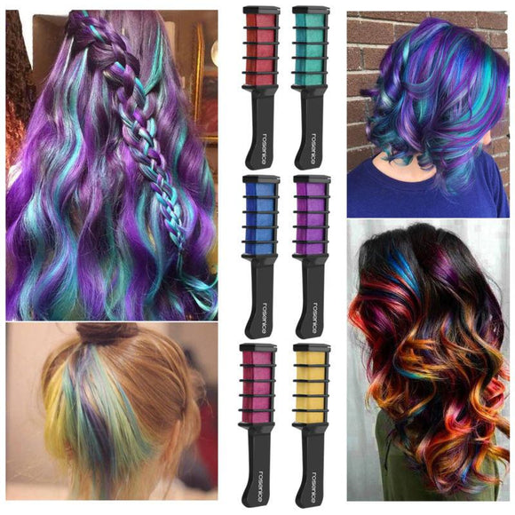 Hair Colourants - 6pcs Temporary Coloured Mini Hair Chalk Comb Set