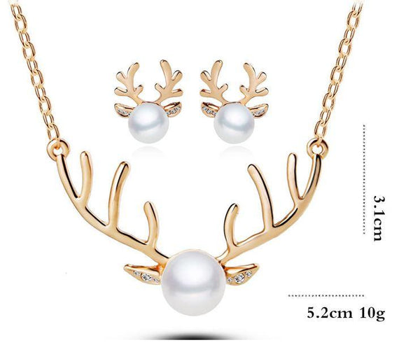 Jewellery Sets - Reindeer Gold & Silver Chain Pearl Necklace, Ring & Earring Set With Topaz Crystals