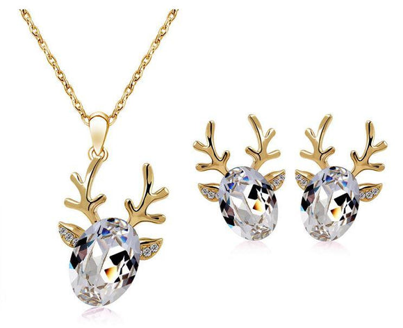 Jewellery Sets - Reindeer Gold & Silver Rhinestone Necklace & Earring Set With Topaz Crystals