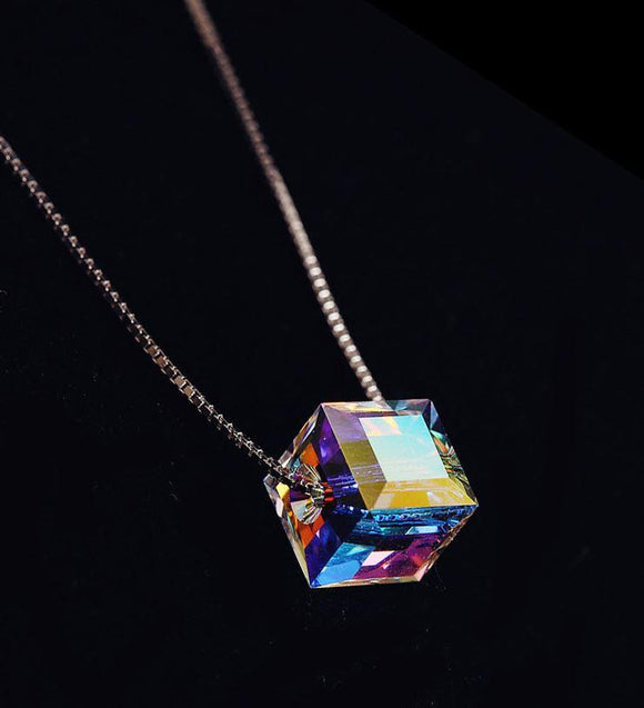 Necklaces - 925 Sterling Silver Aurora Sugar Cube Crystal Necklace