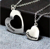 Necklaces - Silver Heart Mother & Daughter Necklace