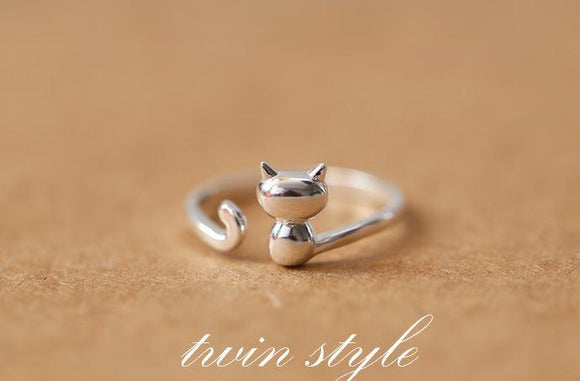 Rings - Adorable 925 Sterling Silver Cat Ring