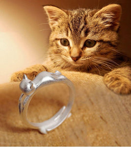 Rings - Cat Charm 925 Sterling Silver Ring