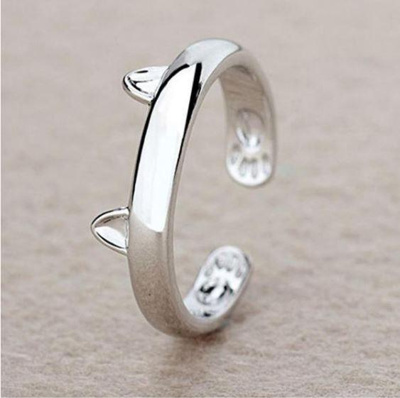 Rings - Cute Adjustable 925 Sterling Silver Cat Ring