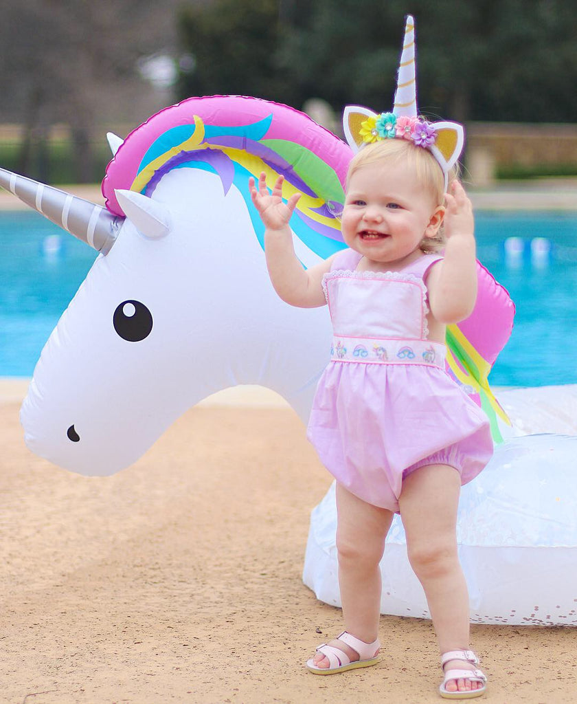 Christian Elizabeth & Co. Rainbows and Unicorns Sunsuit