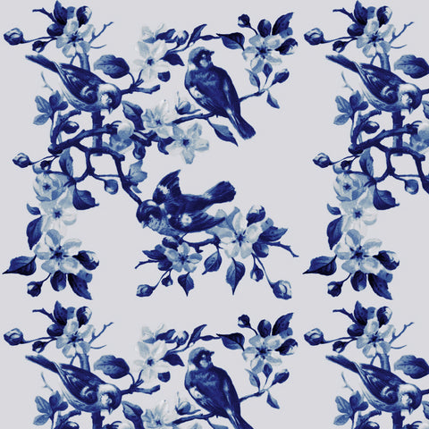 Flowers & Finches - Navy