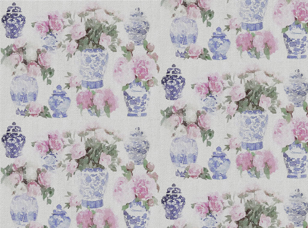 Ginger Jar Peonies - Faded Linen
