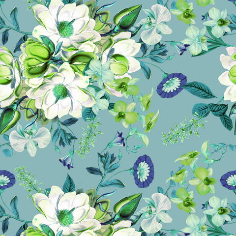 Magnolia Flourish - Teal & Lime