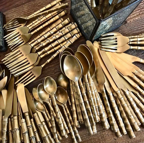 Solid Brass Bamboo Cutlery Set