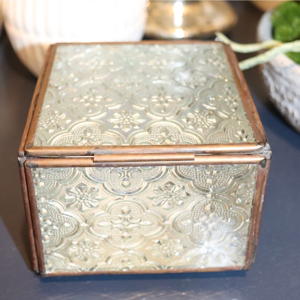 Vintage Glass Trinket Box