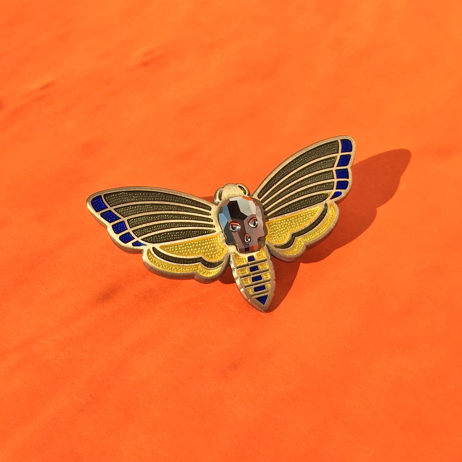 Death's-head Moth Enamel Pin in Antique Gold