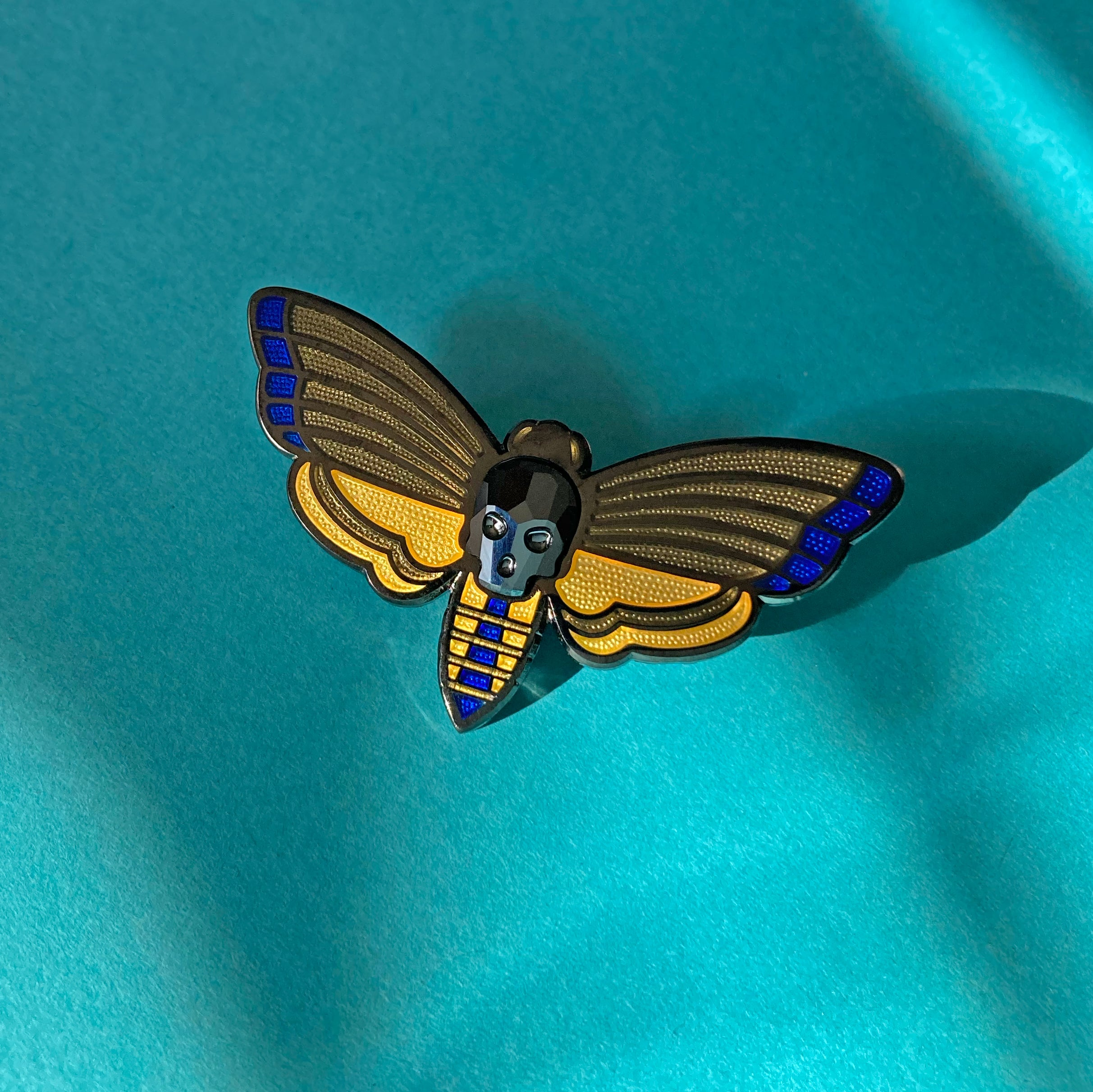 Death's-head Moth Enamel Pin in Black
