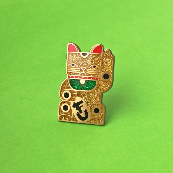 Goodbye Kitty Pin — Glitter & Antique Gold Variant