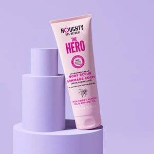 Noughty The Hero hydrating cream body scrub for dry, parched and dehydrated skin. Natural body care vegan cruelty free natural sulphate free paraben free