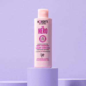 Noughty The Hero 48 hour hydrating body yoghurt for parched and dehydrated skin. Natural body care vegan cruelty free natural sulphate free paraben free