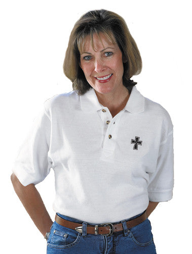 Polo Shirt with Embroidered  Cut-Out Cross